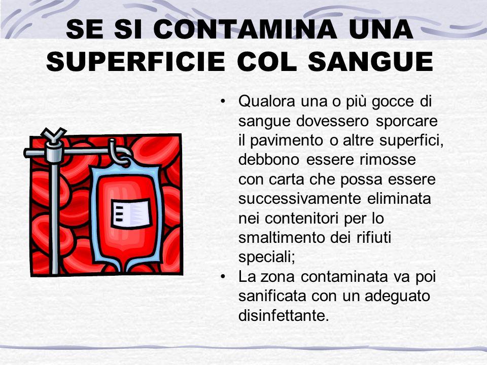 SE SI CONTAMINA UNA SUPERFICIE COL SANGUE Qualora una o più gocce di sangue dovessero sporcare il pavimento o altre superfici, debbono essere rimosse