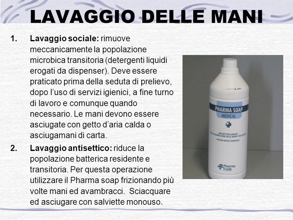 LAVAGGIO DELLE MANI 1.Lavaggio sociale: rimuove meccanicamente la popolazione microbica transitoria (detergenti liquidi erogati da dispenser).