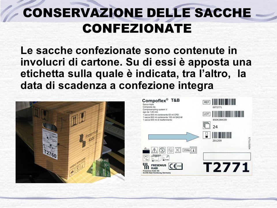 CONSERVAZIONE DELLE SACCHE CONFEZIONATE Le sacche confezionate sono contenute in involucri di cartone. Su di essi è apposta una etichetta sulla quale