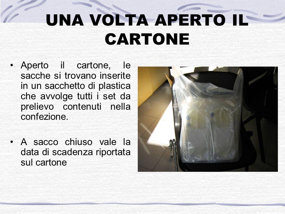UNA VOLTA APERTO IL CARTONE Aperto il cartone, le sacche si trovano inserite in un sacchetto di plastica che avvolge tutti i set da prelievo contenuti nella confezione.