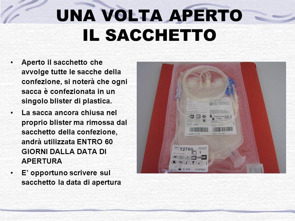 UNA VOLTA APERTO IL SACCHETTO Aperto il sacchetto che avvolge tutte le sacche della confezione, si noterà che ogni sacca è confezionata in un singolo