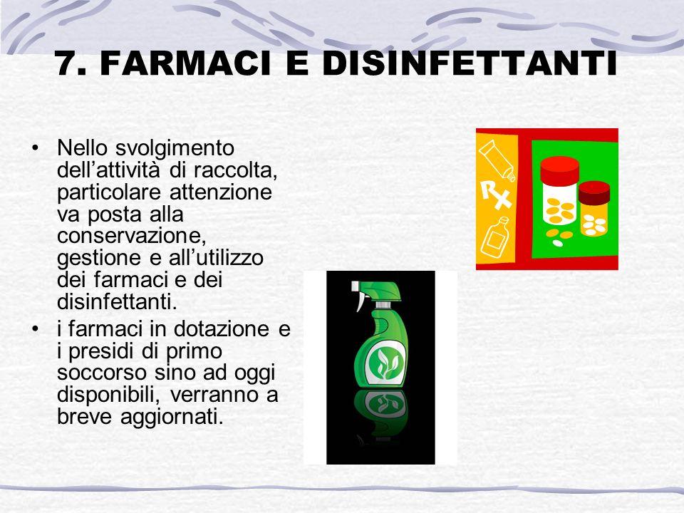 7. FARMACI E DISINFETTANTI Nello svolgimento dellattività di raccolta, particolare attenzione va posta alla conservazione, gestione e allutilizzo dei
