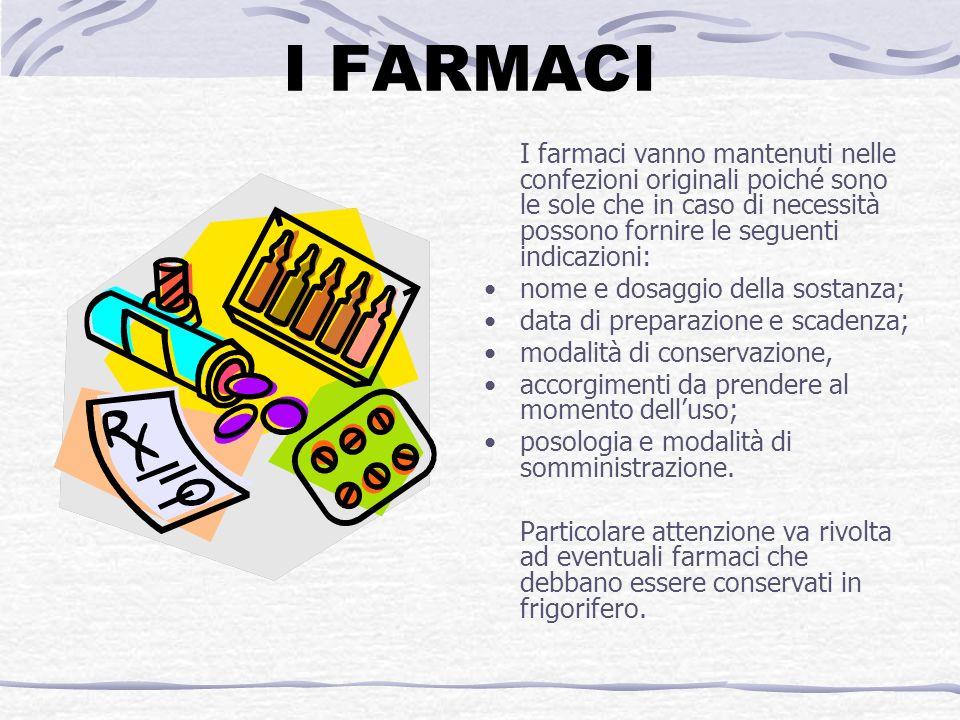 I FARMACI I farmaci vanno mantenuti nelle confezioni originali poiché sono le sole che in caso di necessità possono fornire le seguenti indicazioni: n