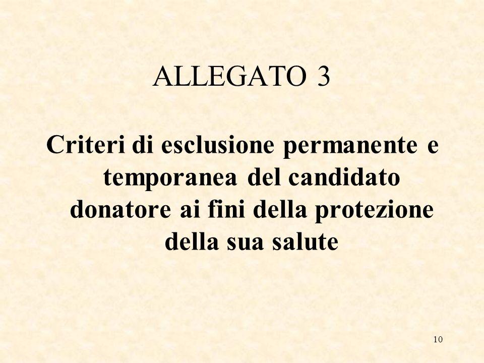 10 ALLEGATO 3 Criteri di esclusione permanente e temporanea del candidato donatore ai fini della protezione della sua salute