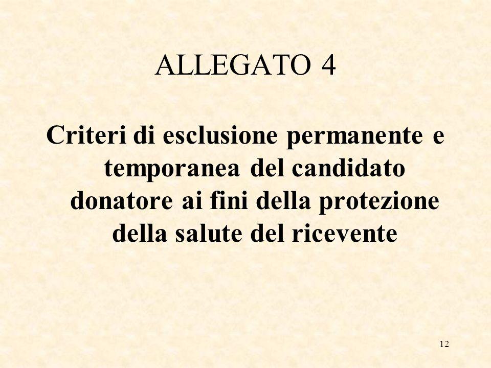 12 ALLEGATO 4 Criteri di esclusione permanente e temporanea del candidato donatore ai fini della protezione della salute del ricevente