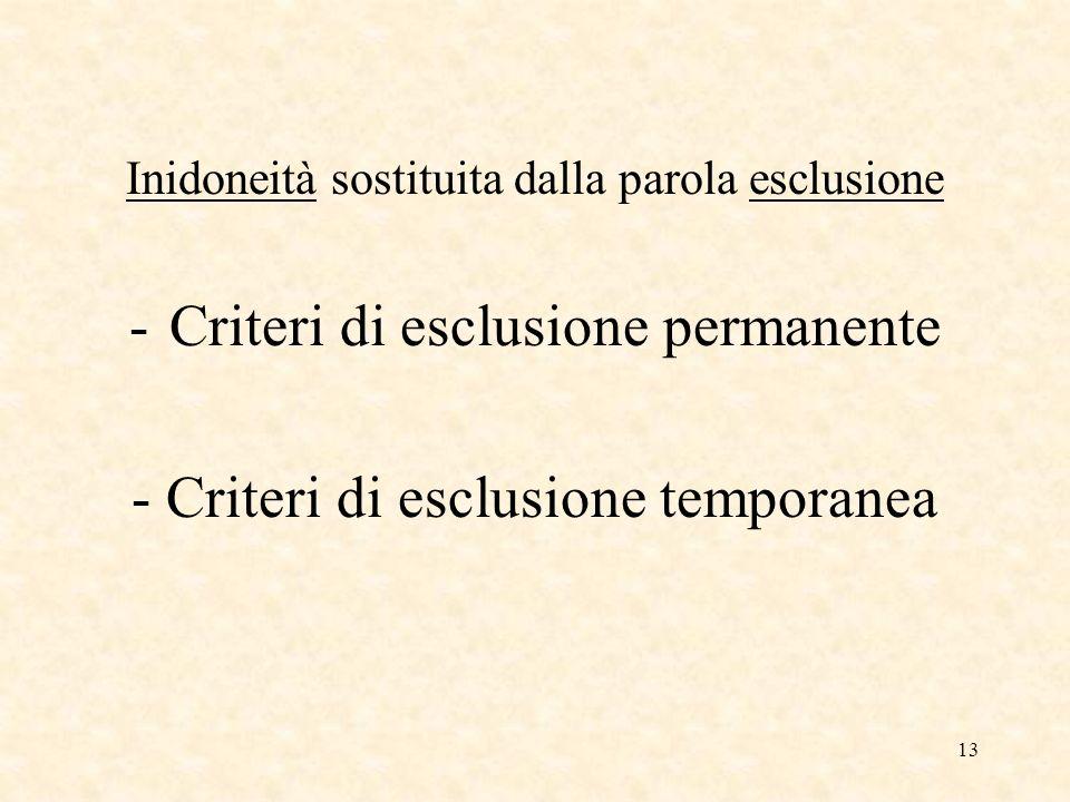 13 Inidoneità sostituita dalla parola esclusione -Criteri di esclusione permanente - Criteri di esclusione temporanea
