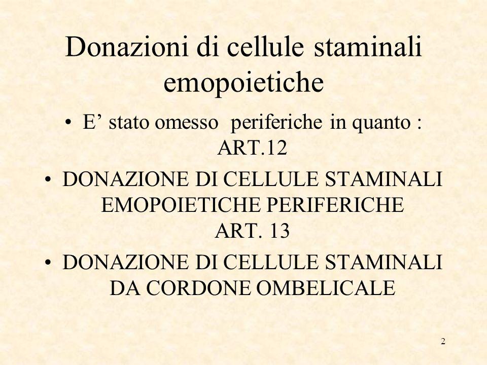 2 Donazioni di cellule staminali emopoietiche E stato omesso periferiche in quanto : ART.12 DONAZIONE DI CELLULE STAMINALI EMOPOIETICHE PERIFERICHE ART.