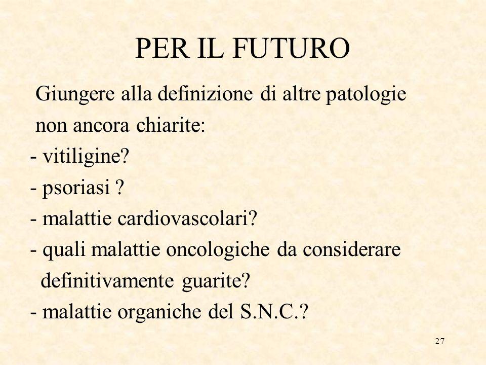 27 PER IL FUTURO Giungere alla definizione di altre patologie non ancora chiarite: - vitiligine.