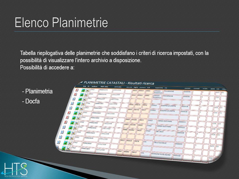 Tabella riepilogativa delle planimetrie che soddisfano i criteri di ricerca impostati, con la possibilità di visualizzare lintero archivio a disposizi