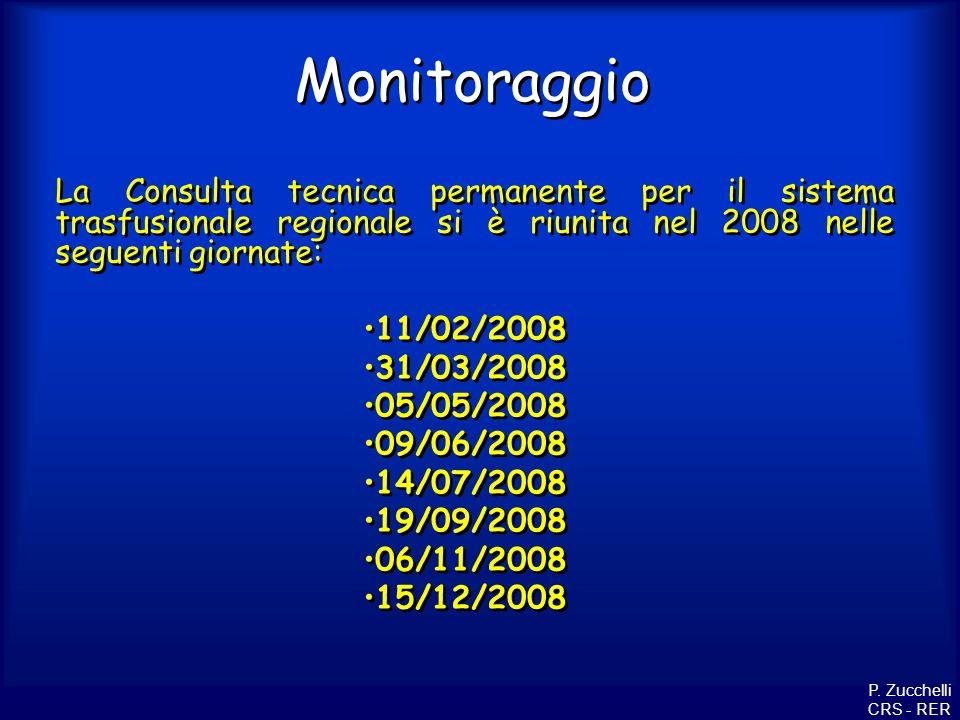 Monitoraggio La Consulta tecnica permanente per il sistema trasfusionale regionale si è riunita nel 2008 nelle seguenti giornate: 11/02/2008 31/03/200