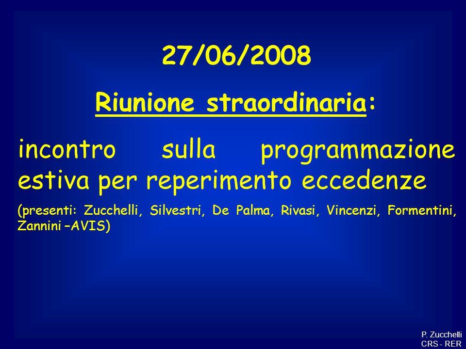 27/06/2008 Riunione straordinaria: incontro sulla programmazione estiva per reperimento eccedenze (presenti: Zucchelli, Silvestri, De Palma, Rivasi, V