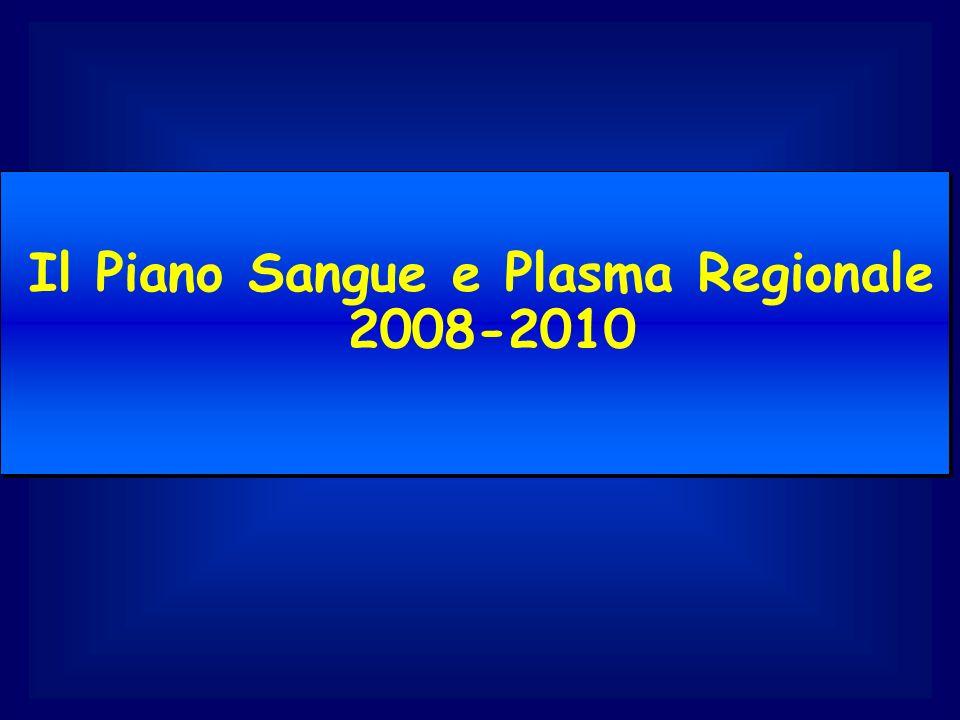 Il Piano Sangue e Plasma Regionale 2008-2010