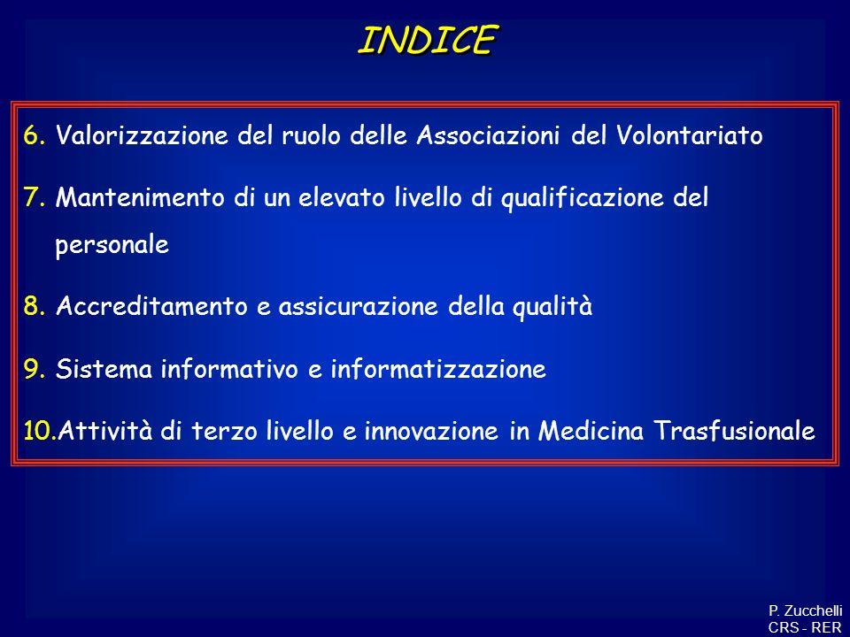 6.Valorizzazione del ruolo delle Associazioni del Volontariato 7.Mantenimento di un elevato livello di qualificazione del personale 8.Accreditamento e