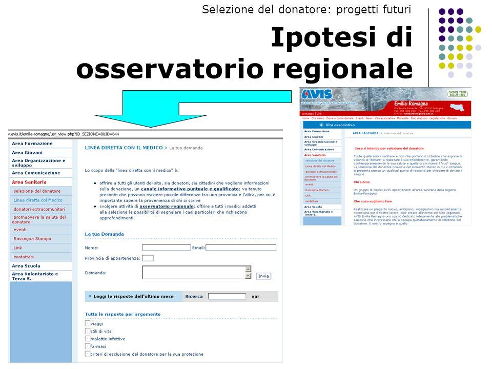 Ipotesi di osservatorio regionale Selezione del donatore: progetti futuri