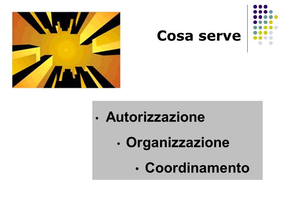 Cosa serve Autorizzazione Organizzazione Coordinamento
