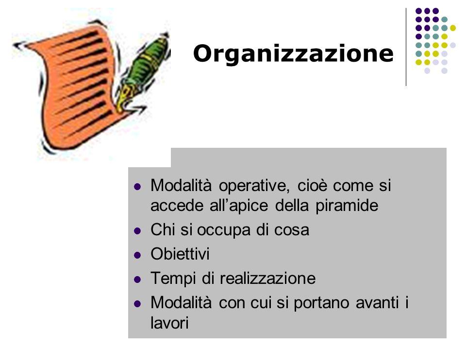 Organizzazione Modalità operative, cioè come si accede allapice della piramide Chi si occupa di cosa Obiettivi Tempi di realizzazione Modalità con cui si portano avanti i lavori