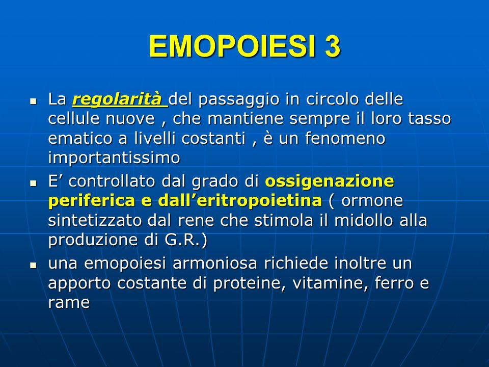 EMOPOIESI 3 La regolarità del passaggio in circolo delle cellule nuove, che mantiene sempre il loro tasso ematico a livelli costanti, è un fenomeno im