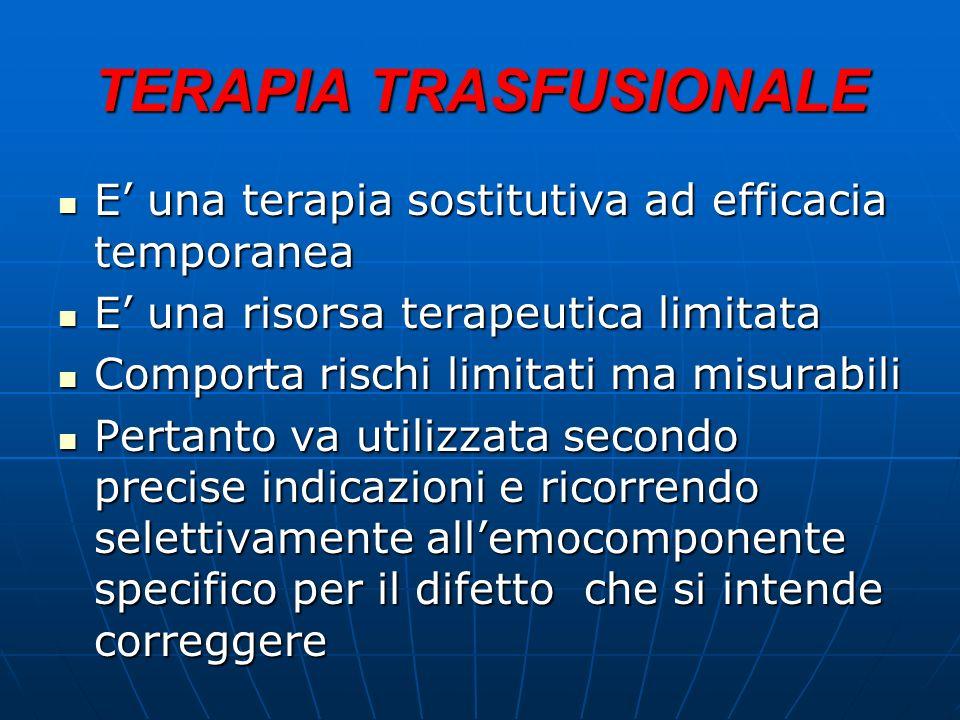 TERAPIA TRASFUSIONALE E una terapia sostitutiva ad efficacia temporanea E una terapia sostitutiva ad efficacia temporanea E una risorsa terapeutica li