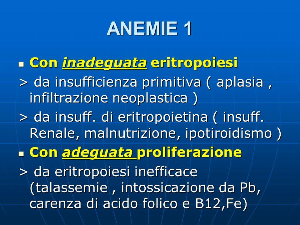 ANEMIE 1 Con inadeguata eritropoiesi Con inadeguata eritropoiesi > da insufficienza primitiva ( aplasia, infiltrazione neoplastica ) > da insuff. di e