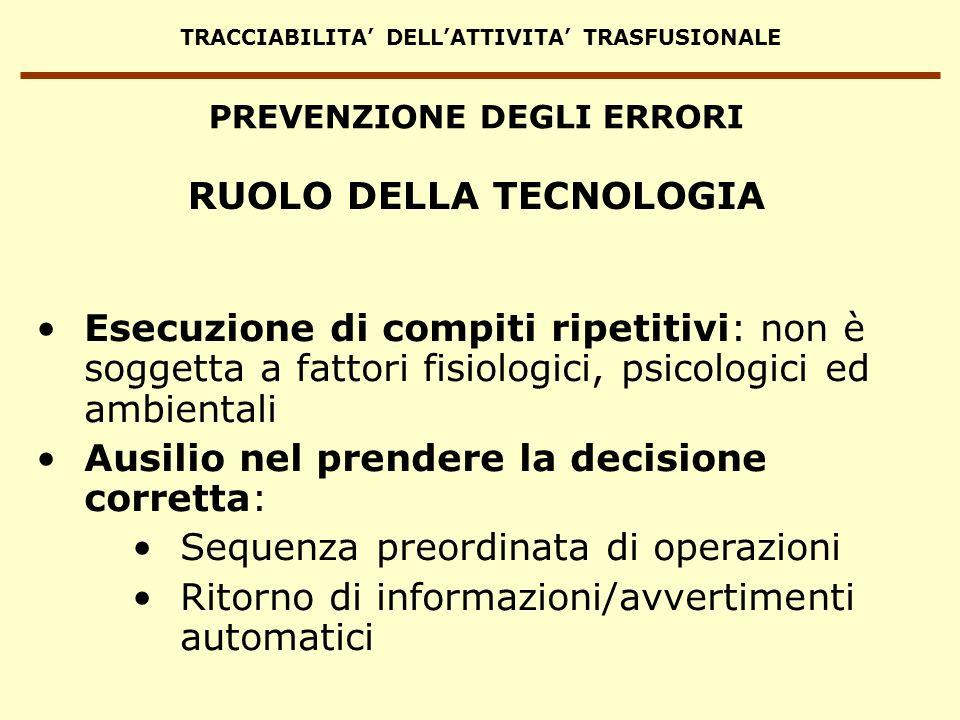 TRACCIABILITA DELLATTIVITA TRASFUSIONALE Esecuzione di compiti ripetitivi: non è soggetta a fattori fisiologici, psicologici ed ambientali Ausilio nel