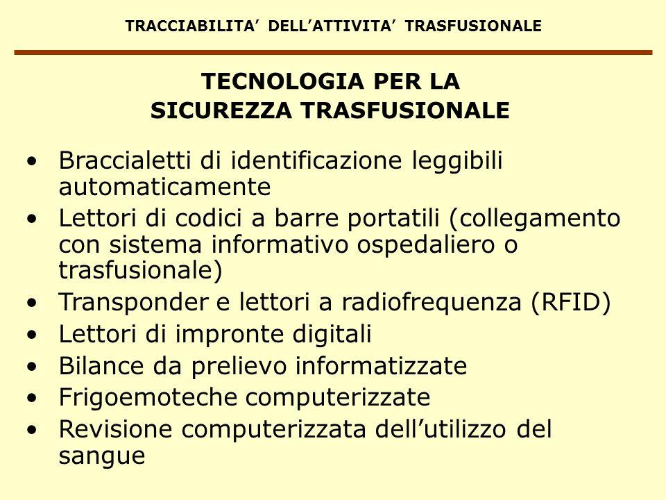 TRACCIABILITA DELLATTIVITA TRASFUSIONALE Braccialetti di identificazione leggibili automaticamente Lettori di codici a barre portatili (collegamento c