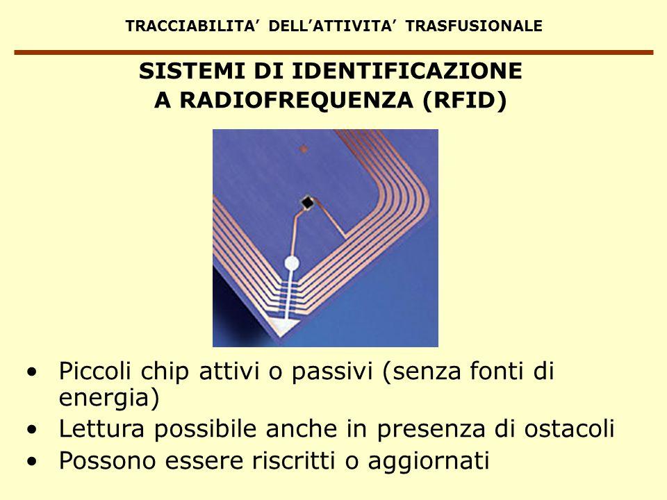 TRACCIABILITA DELLATTIVITA TRASFUSIONALE Piccoli chip attivi o passivi (senza fonti di energia) Lettura possibile anche in presenza di ostacoli Posson