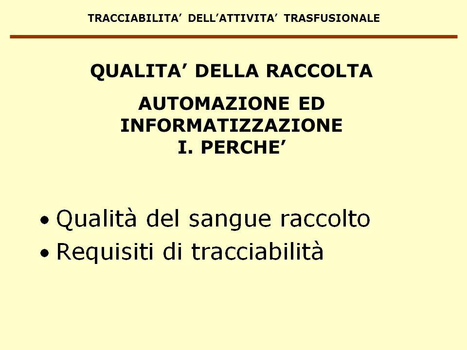 TRACCIABILITA DELLATTIVITA TRASFUSIONALE AUTOMAZIONE ED INFORMATIZZAZIONE I. PERCHE QUALITA DELLA RACCOLTA