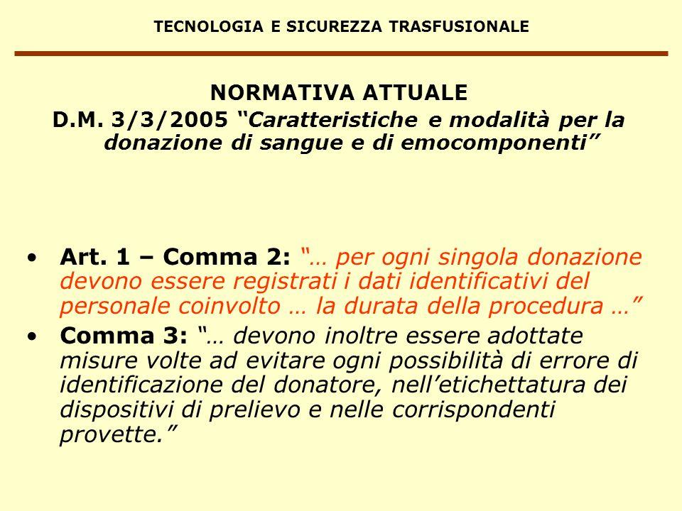 TECNOLOGIA E SICUREZZA TRASFUSIONALE Art. 1 – Comma 2: … per ogni singola donazione devono essere registrati i dati identificativi del personale coinv