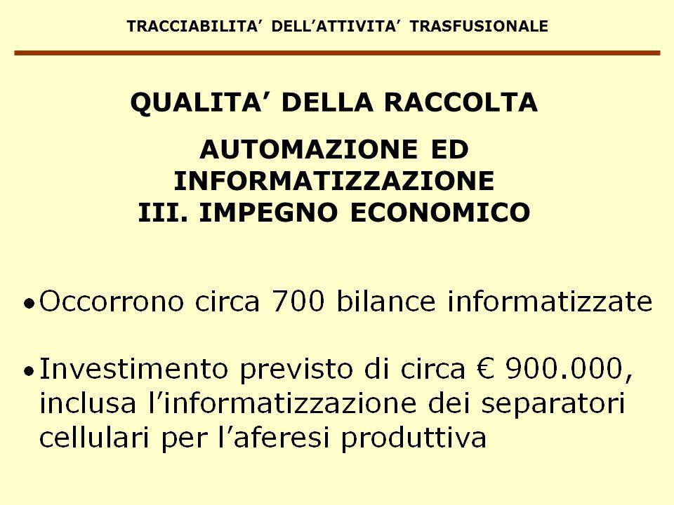 TRACCIABILITA DELLATTIVITA TRASFUSIONALE AUTOMAZIONE ED INFORMATIZZAZIONE III. IMPEGNO ECONOMICO QUALITA DELLA RACCOLTA
