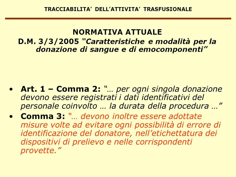 TRACCIABILITA DELLATTIVITA TRASFUSIONALE Art. 1 – Comma 2: … per ogni singola donazione devono essere registrati i dati identificativi del personale c