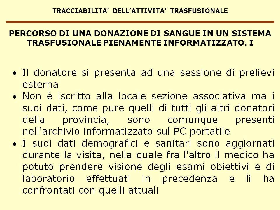 TRACCIABILITA DELLATTIVITA TRASFUSIONALE PERCORSO DI UNA DONAZIONE DI SANGUE IN UN SISTEMA TRASFUSIONALE PIENAMENTE INFORMATIZZATO. I