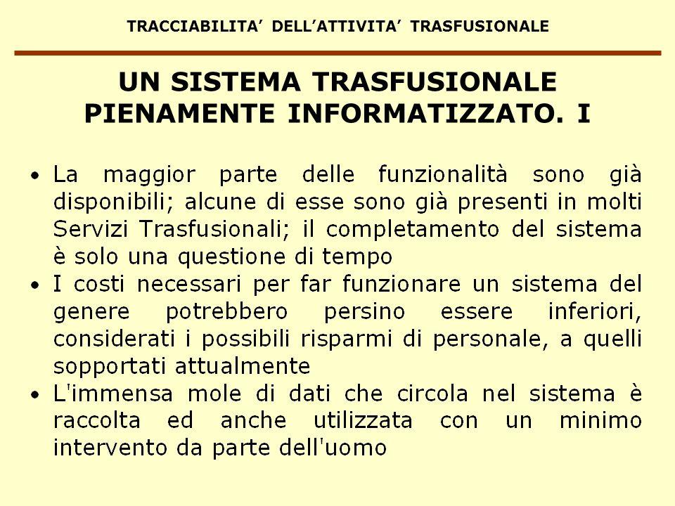 TRACCIABILITA DELLATTIVITA TRASFUSIONALE UN SISTEMA TRASFUSIONALE PIENAMENTE INFORMATIZZATO. I