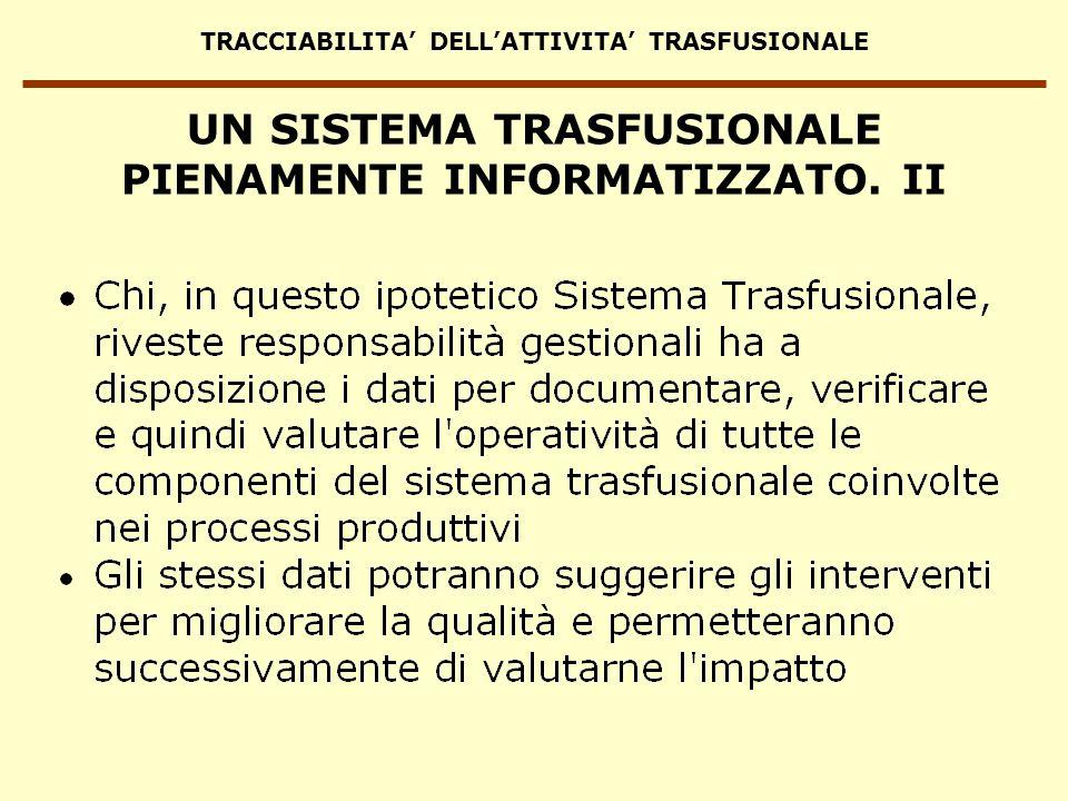 TRACCIABILITA DELLATTIVITA TRASFUSIONALE UN SISTEMA TRASFUSIONALE PIENAMENTE INFORMATIZZATO. II