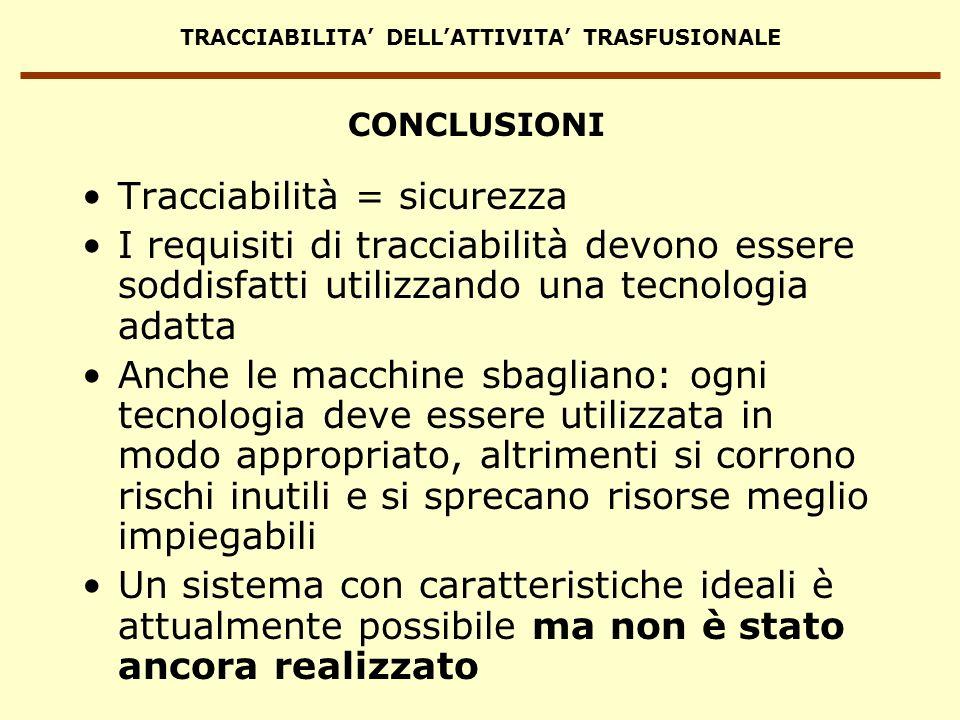 TRACCIABILITA DELLATTIVITA TRASFUSIONALE CONCLUSIONI Tracciabilità = sicurezza I requisiti di tracciabilità devono essere soddisfatti utilizzando una