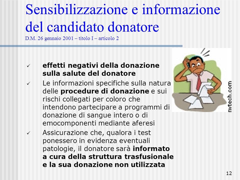 12 Sensibilizzazione e informazione del candidato donatore D.M. 26 gennaio 2001 – titolo I – articolo 2 effetti negativi della donazione sulla salute