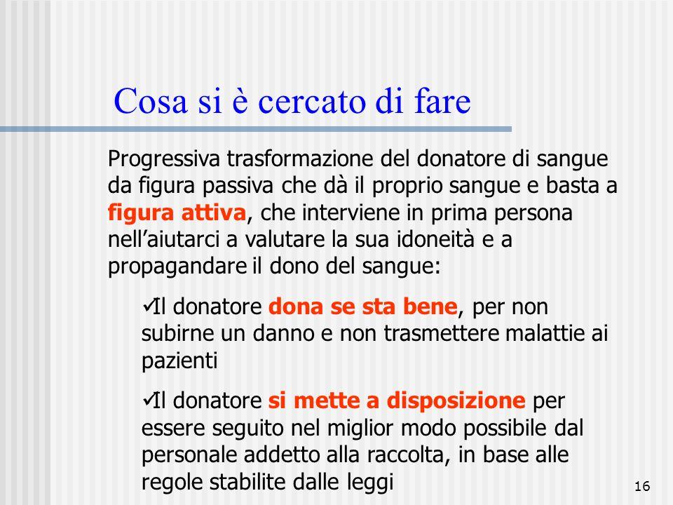 16 Cosa si è cercato di fare Progressiva trasformazione del donatore di sangue da figura passiva che dà il proprio sangue e basta a figura attiva, che