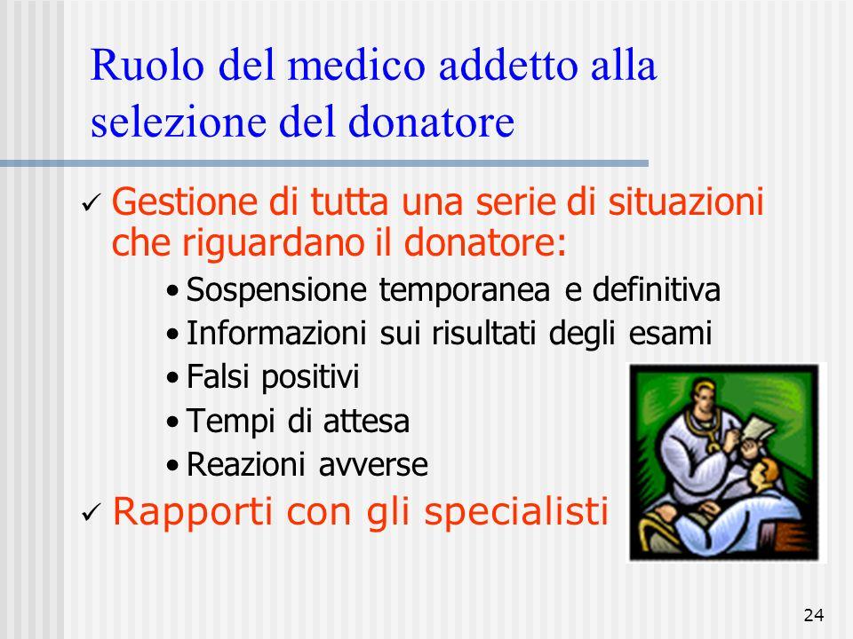 24 Ruolo del medico addetto alla selezione del donatore Gestione di tutta una serie di situazioni che riguardano il donatore: Sospensione temporanea e