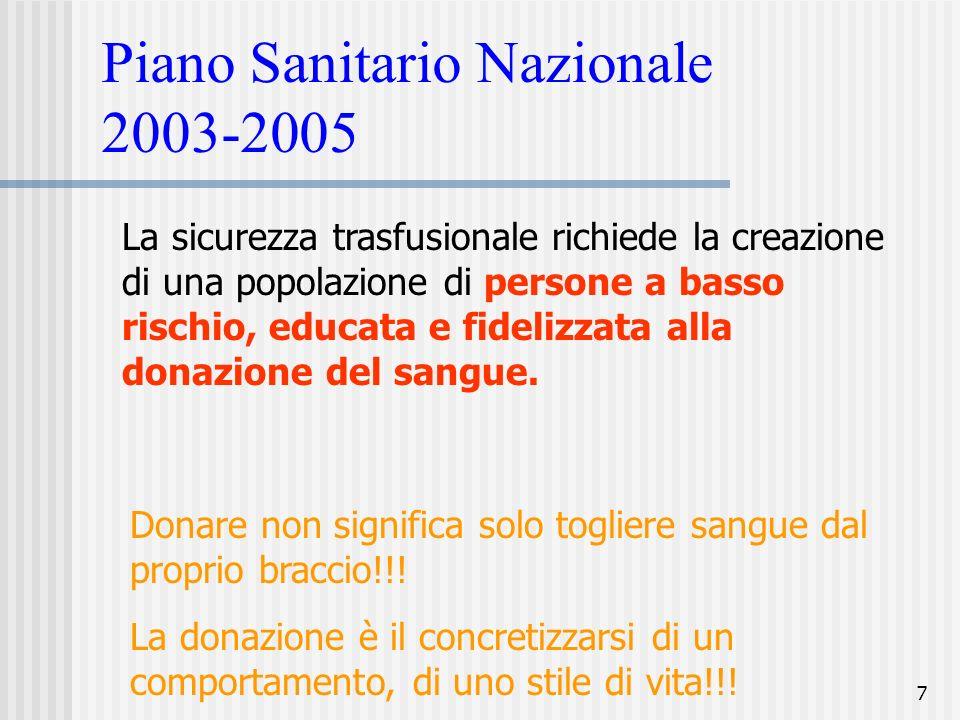 7 Piano Sanitario Nazionale 2003-2005 La sicurezza trasfusionale richiede la creazione di una popolazione di persone a basso rischio, educata e fideli