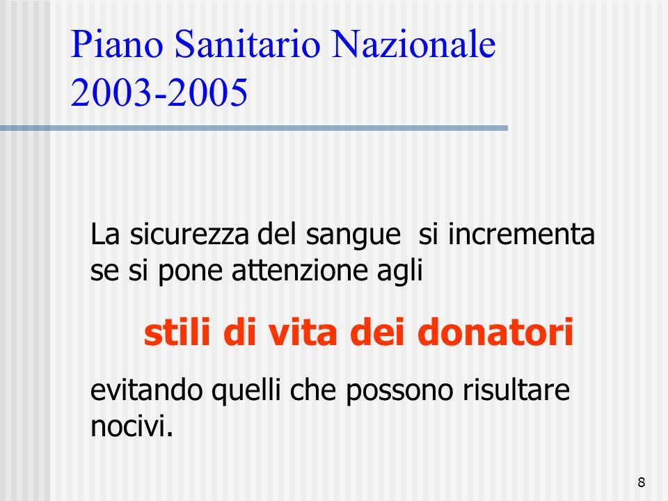 8 Piano Sanitario Nazionale 2003-2005 La sicurezza del sangue si incrementa se si pone attenzione agli stili di vita dei donatori evitando quelli che