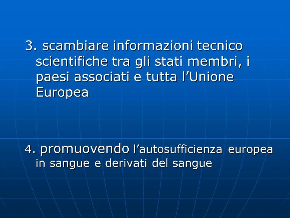 3. scambiare informazioni tecnico scientifiche tra gli stati membri, i paesi associati e tutta lUnione Europea 4. promuovendo lautosufficienza europea