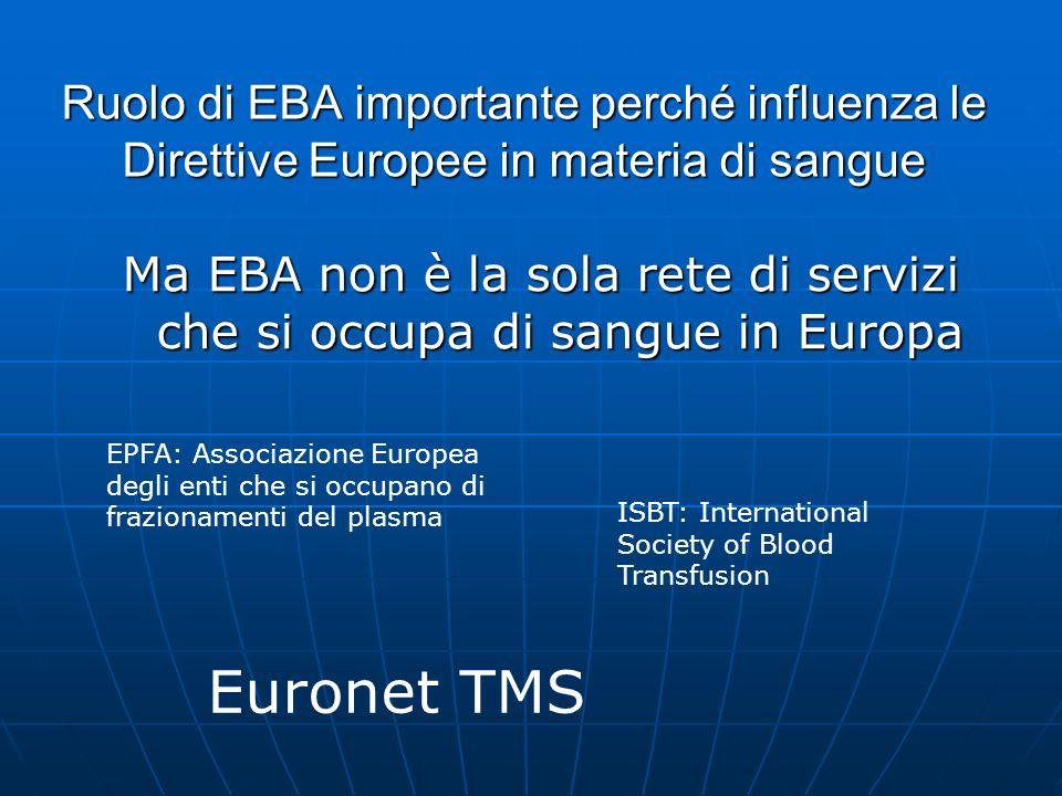 Ruolo di EBA importante perché influenza le Direttive Europee in materia di sangue Ma EBA non è la sola rete di servizi che si occupa di sangue in Eur