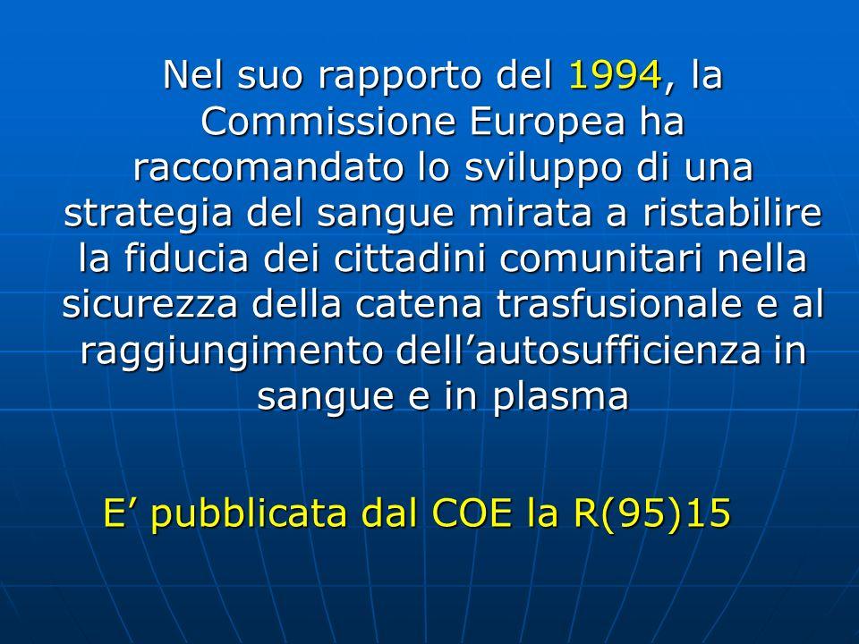 Nel suo rapporto del 1994, la Commissione Europea ha raccomandato lo sviluppo di una strategia del sangue mirata a ristabilire la fiducia dei cittadin