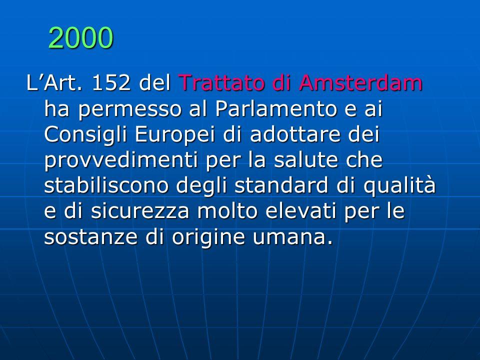 2000 LArt. 152 del Trattato di Amsterdam ha permesso al Parlamento e ai Consigli Europei di adottare dei provvedimenti per la salute che stabiliscono