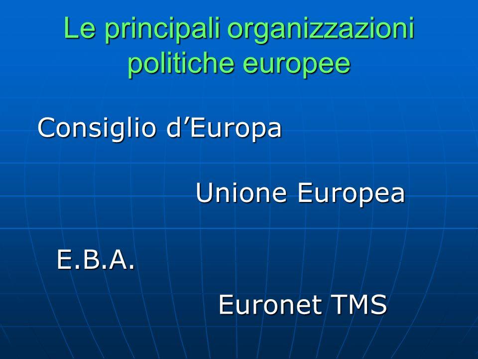 Le principali organizzazioni politiche europee Unione Europea Consiglio dEuropa E.B.A. Euronet TMS