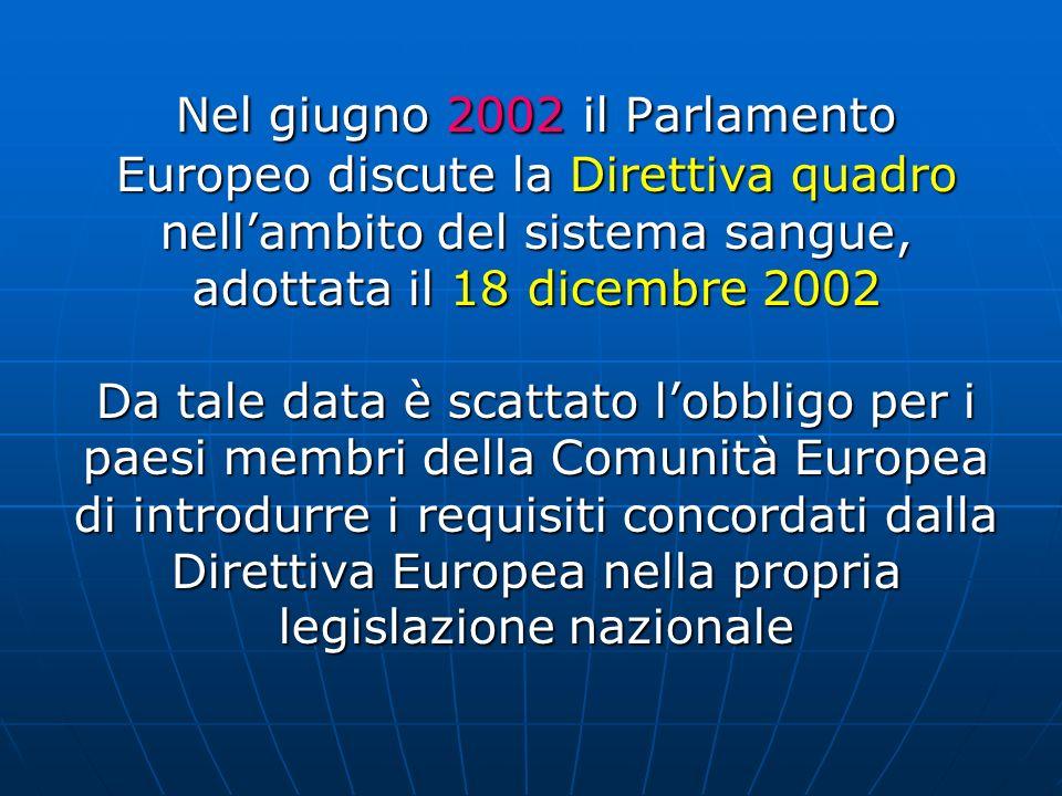 Nel giugno 2002 il Parlamento Europeo discute la Direttiva quadro nellambito del sistema sangue, adottata il 18 dicembre 2002 Da tale data è scattato