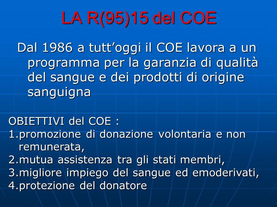 LA R(95)15 del COE Dal 1986 a tuttoggi il COE lavora a un programma per la garanzia di qualità del sangue e dei prodotti di origine sanguigna OBIETTIV