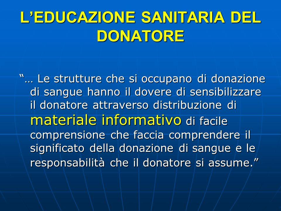 LEDUCAZIONE SANITARIA DEL DONATORE … Le strutture che si occupano di donazione di sangue hanno il dovere di sensibilizzare il donatore attraverso dist