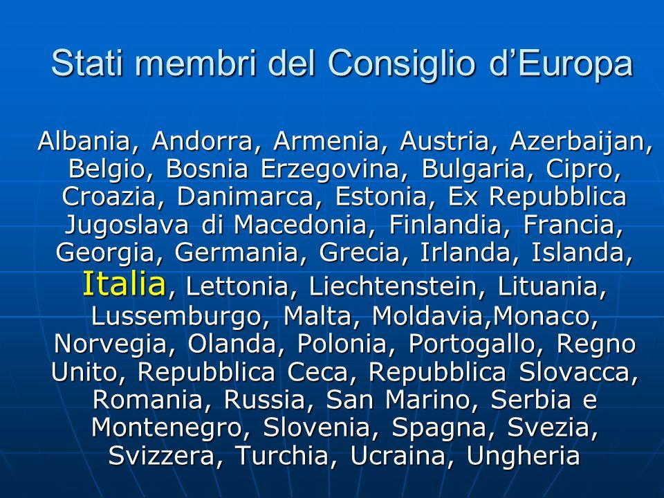 Stati membri del Consiglio dEuropa Albania, Andorra, Armenia, Austria, Azerbaijan, Belgio, Bosnia Erzegovina, Bulgaria, Cipro, Croazia, Danimarca, Est