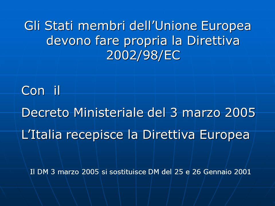 Gli Stati membri dellUnione Europea devono fare propria la Direttiva 2002/98/EC Con il Decreto Ministeriale del 3 marzo 2005 LItalia recepisce la Dire