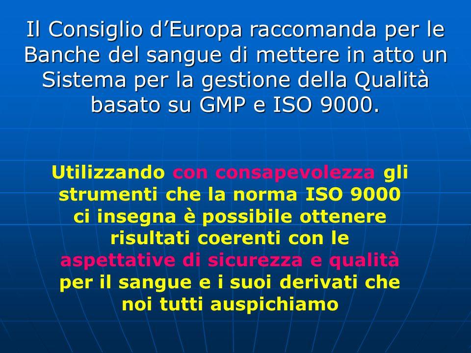 Il Consiglio dEuropa raccomanda per le Banche del sangue di mettere in atto un Sistema per la gestione della Qualità basato su GMP e ISO 9000. Utilizz